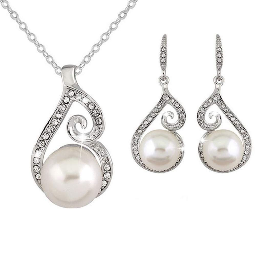 Meolin Luxurious Crystal Simulated Pearl Necklace Earrings Jewelry Sets Fashion Bridal Accessories for Women Costume
