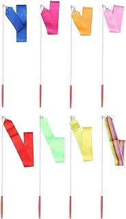 VORCOOL Ruban de Gymnastique Rythmique 4M avec bâtons pour Enfants - Ensemble de 8 banderoles dansantes - Ensemble de 8 Couleurs Assorties