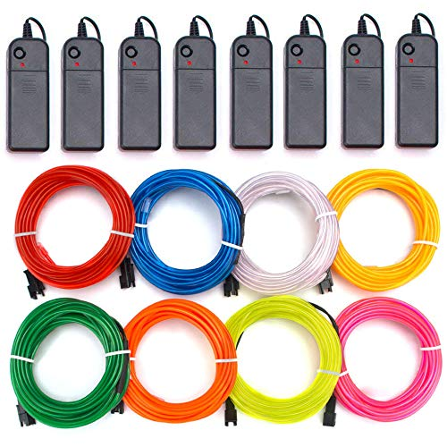 (Zitrades EL Wire Kit 9ft, Portable Neon Lights for Parties, Halloween, Blacklight Run, DIY Decoration (8 Pack, Each of 9ft, Red, Green, Pink, Lemon Green, Blue, White, Yellow,)