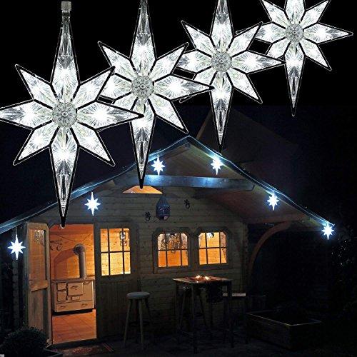 Lichterkette mit 6x Sterne groß 6 m / 96 LED für Weihnachten außen