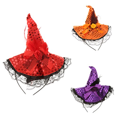 Baosity 3pcs Kids Adult Witch Hat Hair Clip Headband Halloween Fancy Dress Accessory -