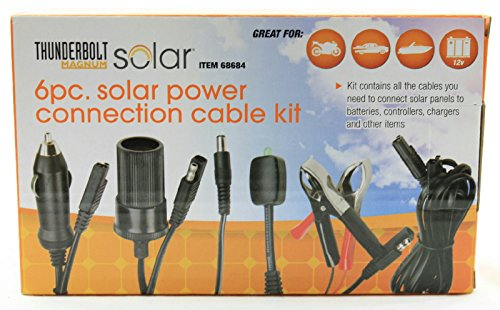 Price comparison product image Thunderbolt Magnum 6 Piece Solar Panel Power Connection Cable Kit Including Battery Clamps,  LED Charge Indicator,  12 Volt Adapters,  Chargers & Connectors