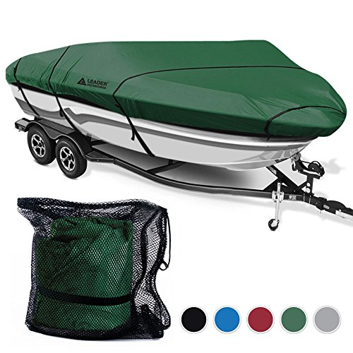18' Olive (Leader Accessories 600D Polyester 5 Colors Waterproof Trailerable Runabout Boat Cover Fit V-hull Tri-hull Fishing Ski Pro-style Bass Boats,Full Size (17'-19'L Beam Width up to 96'', Olive))