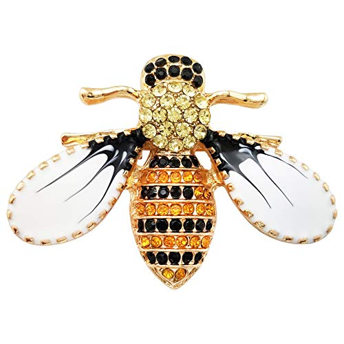LAXPICOL Lovely Yellow Black Austrian Crystal Honeybee Insect Brooch Pin for Women Girls Gold Tone