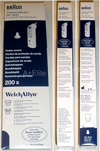 Welch Allyn Braun Thermoscan PRO 6000 Ear Thermometer Probe Covers 200/BX