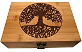 wooden boxes no lid - Tree of Life Wood Stash Box - Engraved Design with Metal Latch Large Wooden Stash Boxes (Tree of Life)