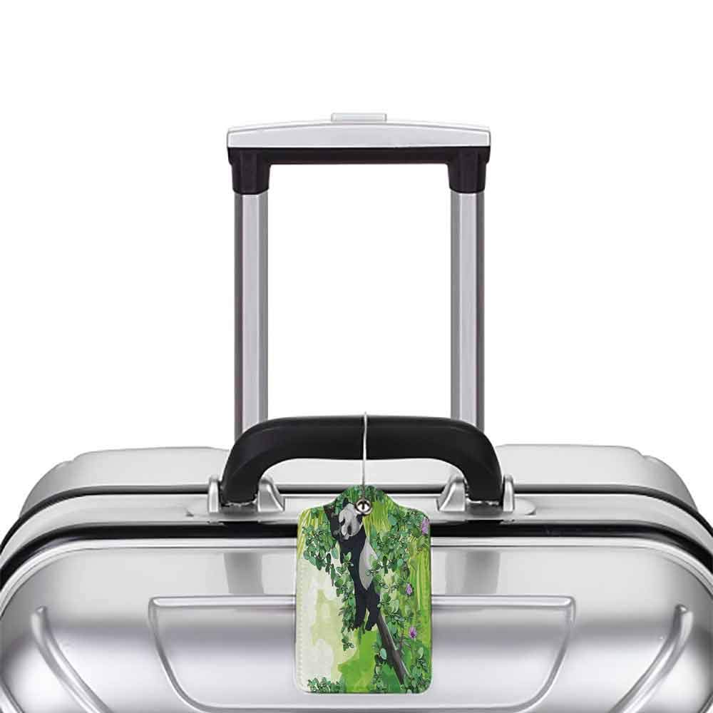 Multi-patterned luggage tag Jungle Cute Panda Bear Sleeping on Tree Branches in Rainforest Image Double-sided printing Lime and Fern Green Black White W2.7 x L4.6