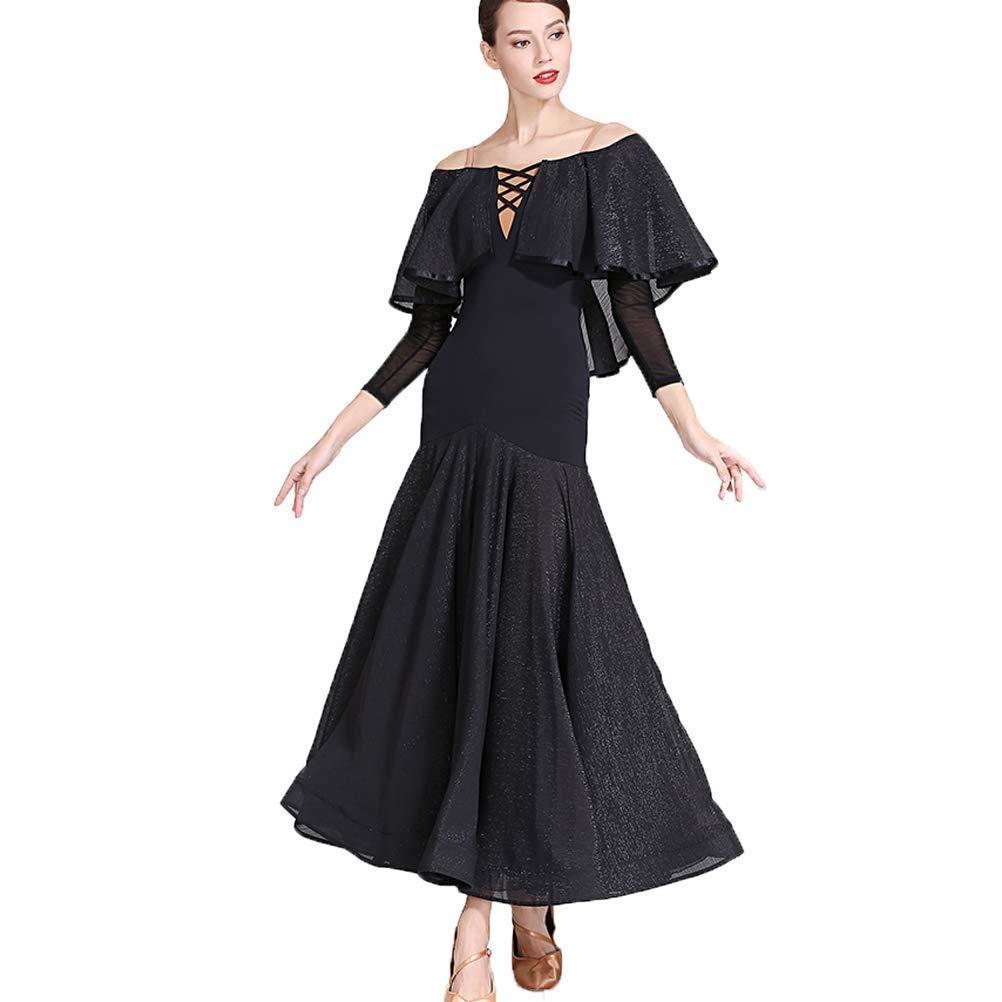 モダンダンス大人の社交ダンス社交ダンス衣装全国標準舞踊蝶スモックダンススカート ブラック XL
