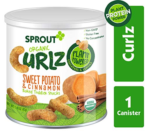 Sprout Organic Curlz Toddler Snacks, Sweet Potato & Cinnamon, 1.48 Ounce (1 Count) Canister (Gerber Treats)