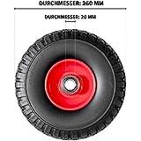 Pannensicheres Sackkarrenrad mit Kugellager PU Cross 260, 260x85x20 mm, Vollgummi, Ersatzrad Sackkarre, Stück:1 Rad