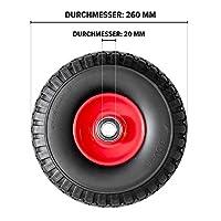 Pannensicheres Sackkarrenrad mit Kugellager PU Cross 260, 260x85x20 mm, Vollgummi, Ersatzrad Sackkarre, Stück:2 Räder