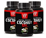 Natural fat burner for men - EXTRA VIRGIN COCONUT OIL - Coconut weight loss products - 3 Bottles 180 Softgels
