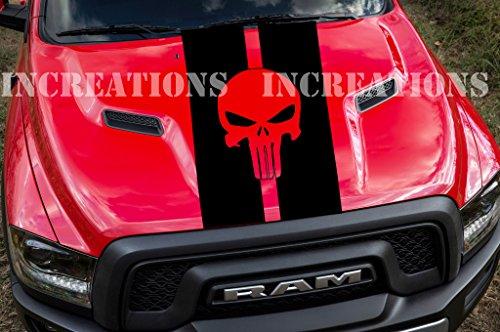 Punisher Skull Toyota GMC Dodge Hood Chevy Truck Racing Decal Sticker Any Truck (Black)