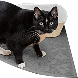 Corner Cat Litter Mat (Light Gray) - XL Size - 23' x 23' - Fits Regular And Corner Litter Boxes