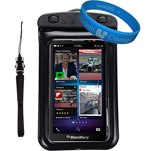 Universal Protective Waterproof Bag / Pouch / Cover / Case for Nokia Lumia 920 / 635 / BLU Win HD / W510L with Responsive Screen Protector Windows and Strap Fit up to 5.5 Inch Ios Windows Android Smart Phone + SumacLife Wisdom Courage Wristband (Black) (Armband Nokia Lumia 920)