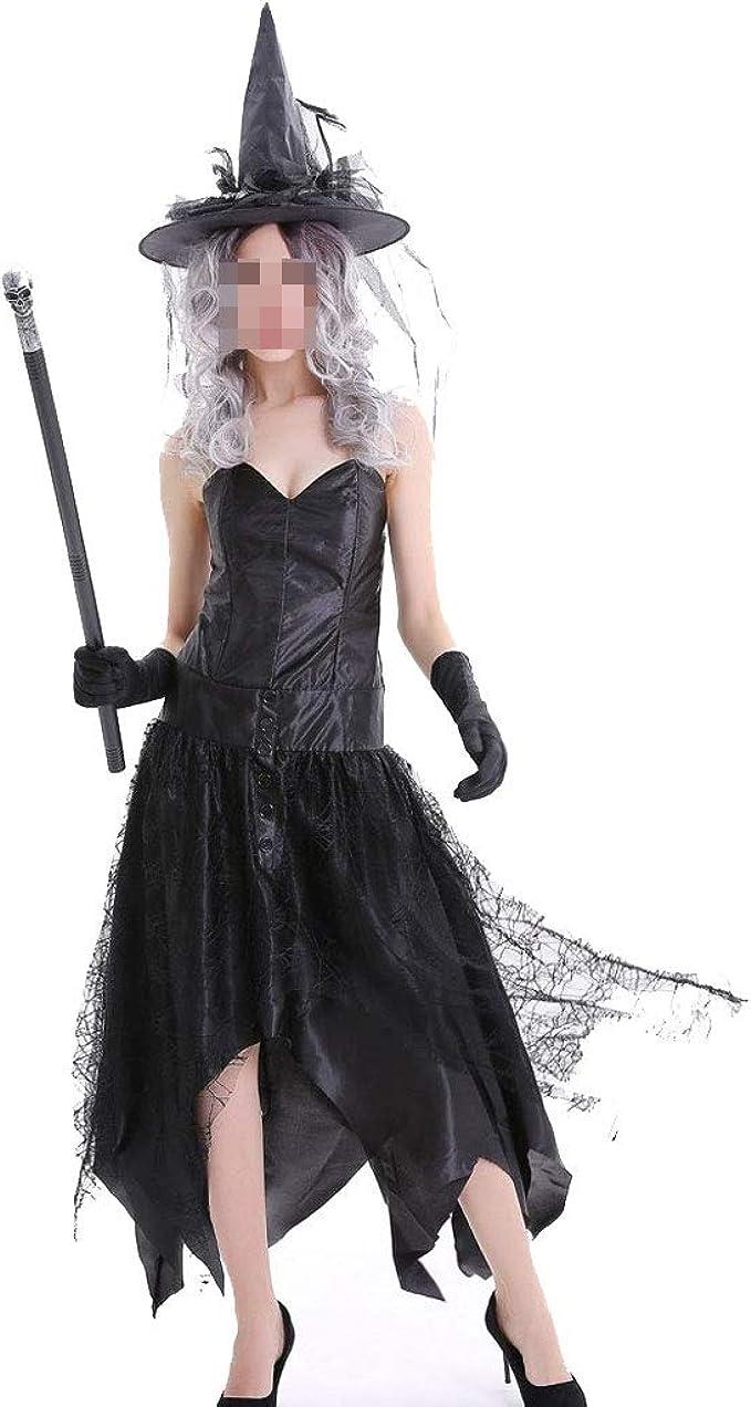 KODH Nueva bruja disfraz de Halloween sin tirantes manga bruja ...
