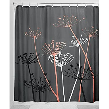 InterDesign Thistle Fabric Shower Curtain, 72 x 72-Inch, Gray/Coral