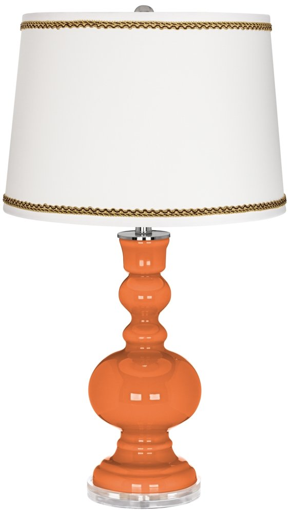 Celosia Orange Apothecary Table Lamp with Twist Scroll Trim