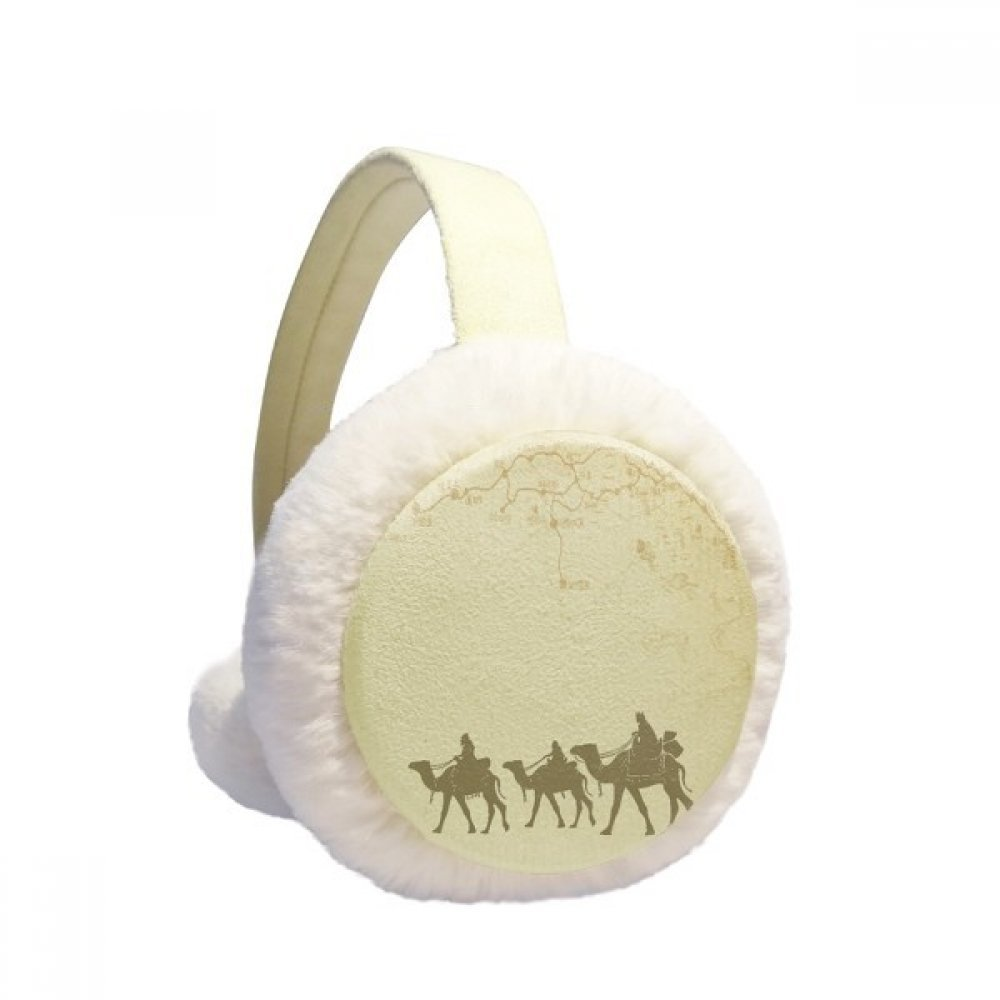 Camel Chinese Painting Silk Road map Winter Earmuffs Ear Warmers Faux Fur Foldable Plush Outdoor Gift