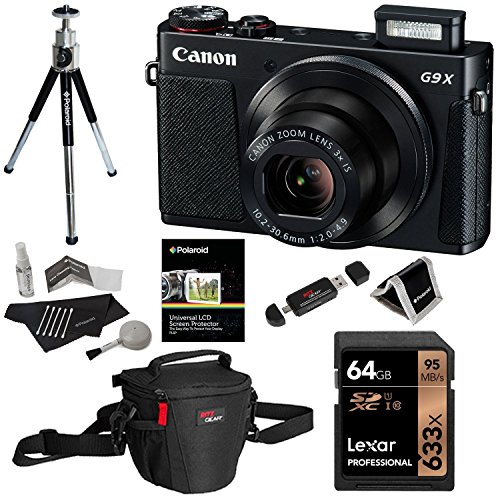 Canon PowerShot G9 X Digital Camera with 3x Optical Zoom Built-in Wi-Fi LCD touch panel (Black), Lexar 64GB Memory Card, Ritz Gear Photo Pack, Polaroid Tripod, Cleaning Kit and Accessory Bundle