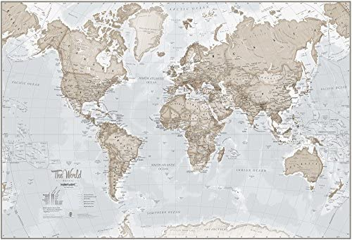 Maps International Mural de Mapa del Mundo Gigante – Decoración de Pared – 232 cm (Ancho) x 158 cm (Alto), Crema: Amazon.es: Bricolaje y herramientas