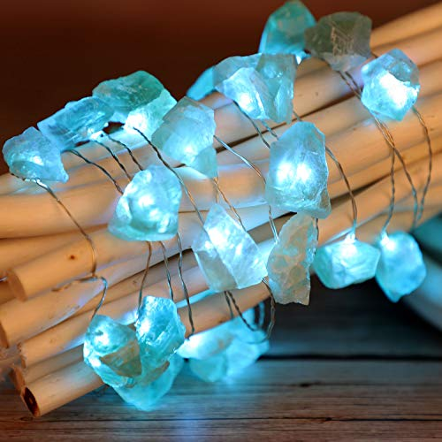Raw Fluorite Stone String Lights, Nature Healing Crystal Decoration with Remote Control 10ft 30LEDs for Covered Outdoor Valentine Day, Mental Peace, Divination, Christmas Party Present