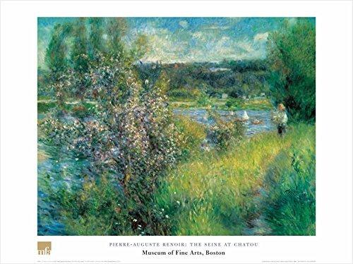 The Seine at Chatou by Pierre-Auguste Renoir 24x32 Art Print Poster Famous Painting Landscape Coastal Floral Bushes