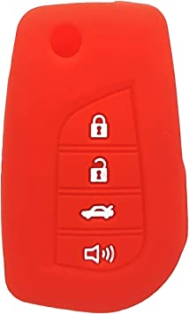 WERFDSR Sillicone key fob Skin key Cover Keyless Entry Remote Case Protector Shell for Toyota Camry 4-Runner RAV4 Highlander Corolla Yaris 4 button smart remote blue