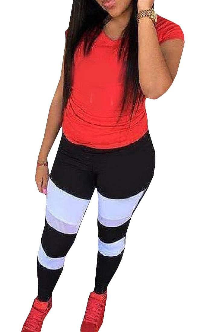 Wofupowga Women Color Block Short Sleeve 2 Piece Top and Pants Tracksuit Set