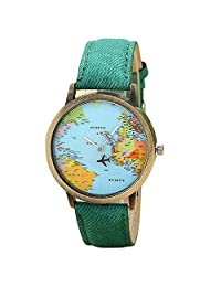 Women watch,LSVTR Global Travel By Plane Map Watch-Green