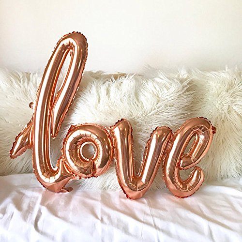 XXL Giant Foil Balloon- ''Love'' Hand-writing style- Rose Gold