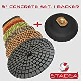 STADEA 5'' Wet Diamond Polishing Pads Set for Concrete polishing + Rubber Backer (5/8'' 11 Threaded)