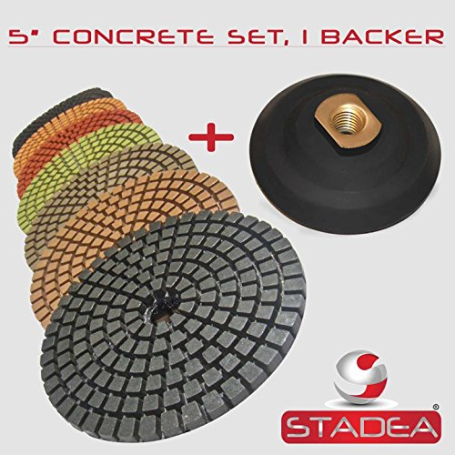 STADEA 5'' Wet Diamond Polishing Pads Set for Concrete polishing + Rubber Backer (5/8'' 11 Threaded) by STADEA