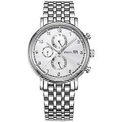 Sheli Self Winding Automatic Mechanic Jewelry Clock Silver Tone Bracelet Watch with Day Date for Man