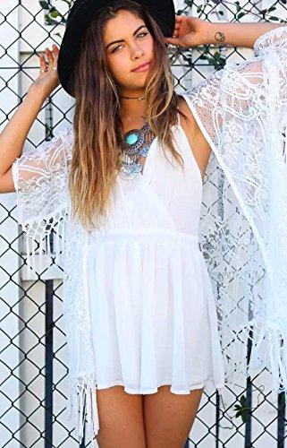 spiaggia Mini bianca crema solare manica Imixcity Cardigan Vintage Praia Kimono mezza Nappe Crochet Donna abbigliamento abito esotico pwpO0qT