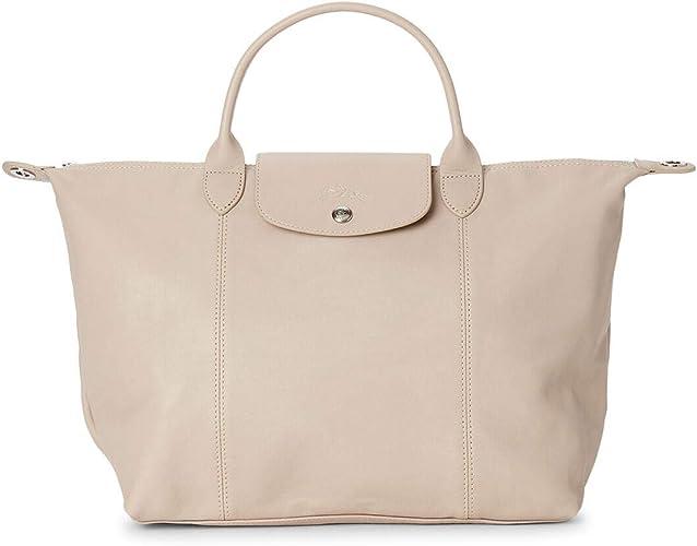 Amazon.com: LongChamp Women's Le Pliage Cuir Beige Leather Top ...