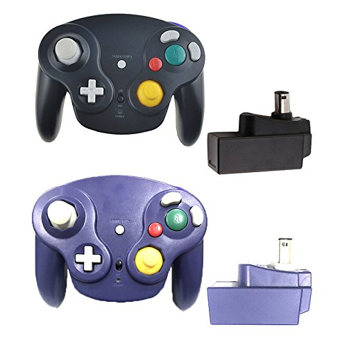 Bowink Classic 2.4G Wireless Controllers Gamepad with Receiver Adapter for Wii U Gamecube NGC GC (Black and Purple) (Adapter U Gc Wii)