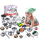 Multill Kids Kitchen Playing Toys Stainless Steel Pots Pans Cooking Utensils Pretend Cooking Cookware Toys 25Pcs