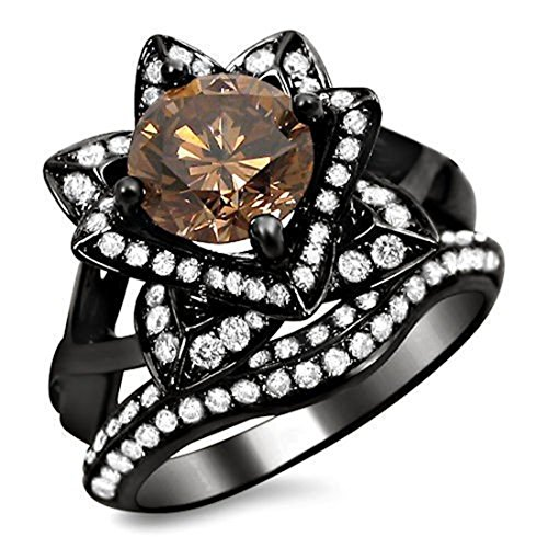 Smjewels 2.0 Ct Brown Round Sim.Diamond Lotus Flower Engagement Ring Set 14K Black Gold Plated by Smjewels