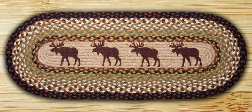 Earth Rugs 68-019 Oval Table Runner, 13'' by 36'', Moose