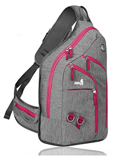Plus Oversized Sling Backpack for Men Women, Double Layers Rope Strap Bag 28L (Red)