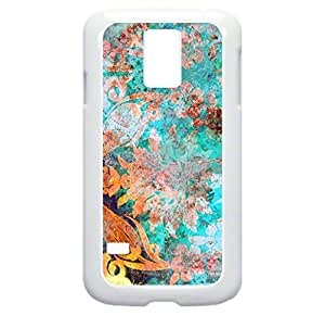 Watercolor Floral Grunge Art- Hard White Plastic Case with Tough Soft Inner Black Rubber Lining- for the Samsung Galaxy s5 i9600