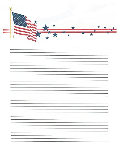 American Flag Writing Paper - Kid's Camp American Flag Lined Stationery Paper 26 Sheets