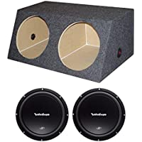 2) Rockford Fosgate R1S4-12 12 600W Subwoofers + Dual 12 Sealed Angled Sub Box