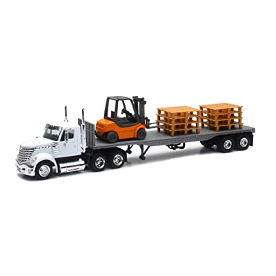 New Ray New 1:43 NEWRAY Truck & Trailer Collection - White Long HAUL Trucker International Lonestar Flatbed with Forklift and PALLETS Diecast Model Toys: Toys & Games