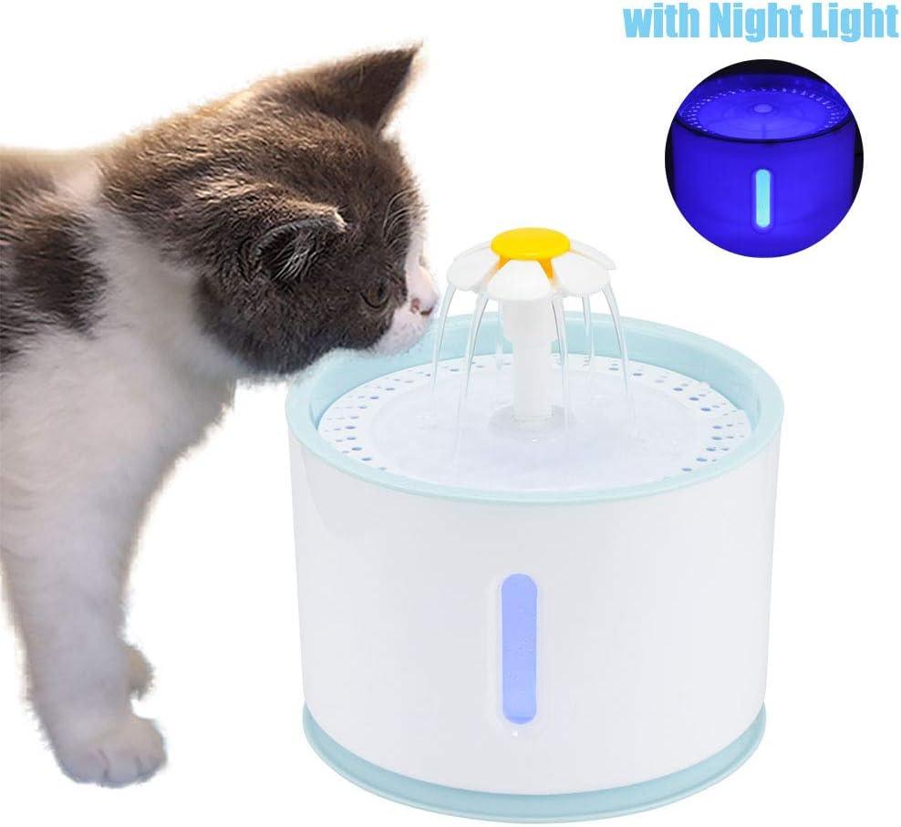 OurLeeme Fuente de Agua para Mascotas, Fuente para Gatos, 2.4L Perro Gato Fuente de Mascotas Dispensador de Agua automático Silenciador Activado con Cable USB (con Cabeza de Flor)