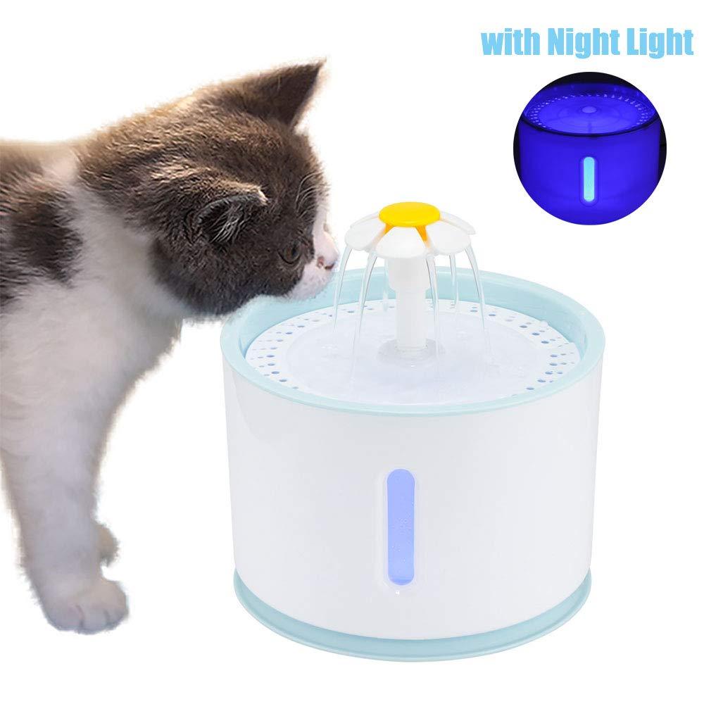 OurLeeme Fuente de Agua para Mascotas, Fuente para Gatos, 2.4L Perro Gato Fuente de Mascotas Dispensador de Agua automático Silenciador Activado con ...