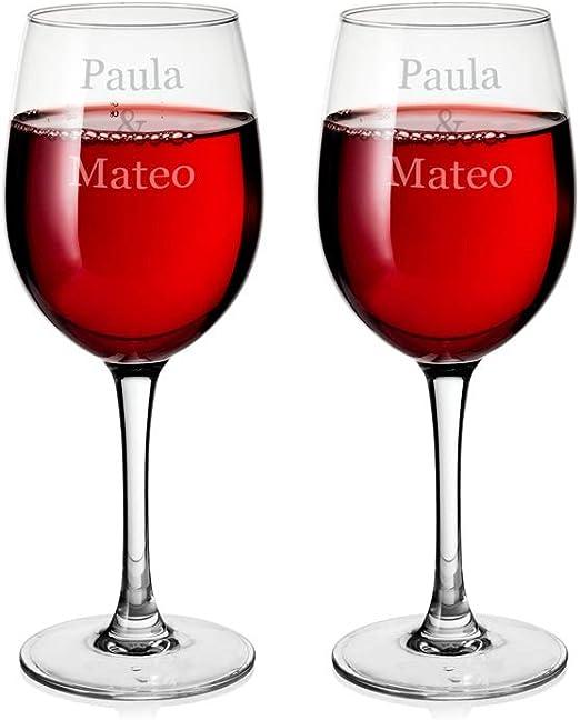 Regalo Original 2 Copas de Vino Burdeos de Cristal grabadas con tu Texto: Amazon.es: Hogar