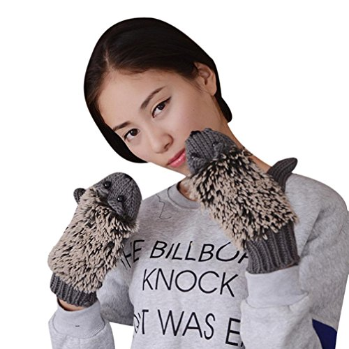 Guantes calientes para Mujeres,Ouneed ® Dibujos animados hermoso invierno guantes mitones guantes erizo de punto Gris