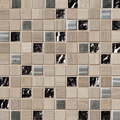 Castle Rock 12 In. X 12 In. X 8mm Glass Metal Stone Mesh-Mounted Mosaic Tile, (10 sq. ft., 10 pieces per case)